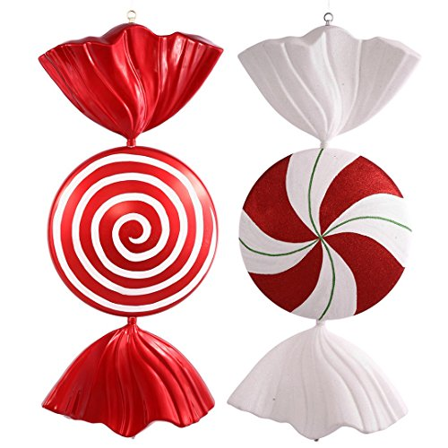 Vickerman M110924 Peppermint Spiral Shiny Candy Ornament with Shatterproof & Secure Cap, 37″ , Red/White