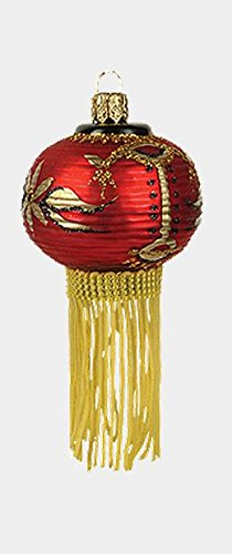 Pinnacle Peak Trading Company Red Asian Paper Lantern Polish Blown Glass Christmas Ornament Decoration