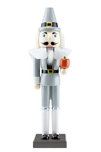 "Pilgrim Nutcracker by Clever Creations | Wearing Black and White Pilgrim Outfit | Festive Collectable Christmas Decor | Perfect for Shelves and Tables | 100% Wood | 14"" Tall"