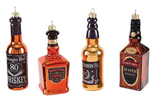 One Hundred 80 Degrees 4 Glass Whiskey Bottles Hanging Ornaments CG0153 5.5 Inches