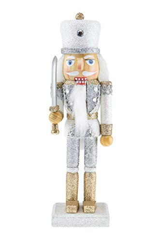 Clever Creations Wooden Glittery Soldier Nutcracker | Gold and Silver Uniform Holding Sword | Great Traditional Festive Christmas Decor | Great for Any Holiday Collection | 10″ Perfect for Shelves