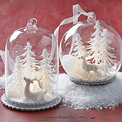 RAZ Imports SET OF 2 Raz 4″ LED Lighted Cloche Dome with Winter Scene Glass Christmas Ornament 3720166