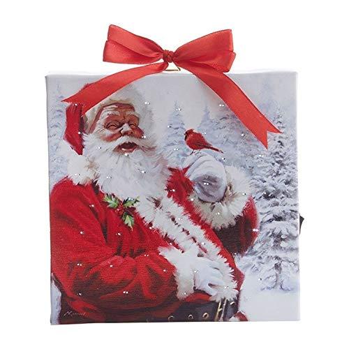 "RAZ Imports Santa Lighted Print Ornament with Easel Back 6""L X 1""W X 6""H"