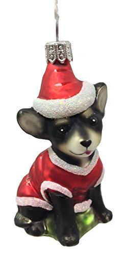 Pinnacle Peak Trading Company Chihuahua Dog Wearing a Santa Outfit Polish Glass Christmas Ornament Pet Animal