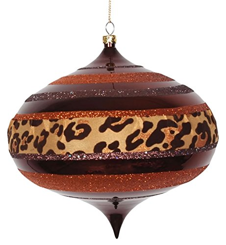 Vickerman Diva Safari Cheetah Print/Stripes Copper and Coffee Commercial Christmas Onion Ornament, 6″
