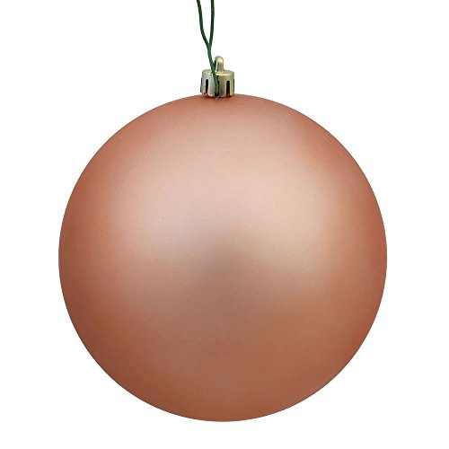 Vickerman N590758DMV Matte Ball Ornaments with Shatterproof UV Resistant, Pre-drilled cap Secured & 6″ of green floral Wire in 12 per bag, 2.75″, Rose Gold