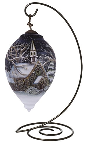 "Ne'Qwa Princess Shaped Glass Ornament With Classic Hanging Stand, ""Oh Come All Ye Faithful"" Artist Susan Winget, #7151168"