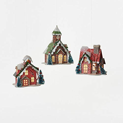 180 Degrees Snowy House Village Ornaments LED Lights Inside Vintage-Style Christmas