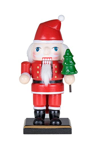 Traditional Christmas Chubby Santa Claus Nutcracker by Clever Creations   Holding Christmas Tree   6″ Tall Perfect for Shelves and Tables   Red and White   100% Wood