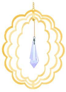 24K Gold Crystal Oval Spinner Ornament – Clear Swarovski Crystal