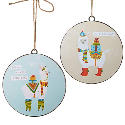 RAZ Imports Chrisstmas Decor Metal Disc Llama Ornaments 2 Piece Set