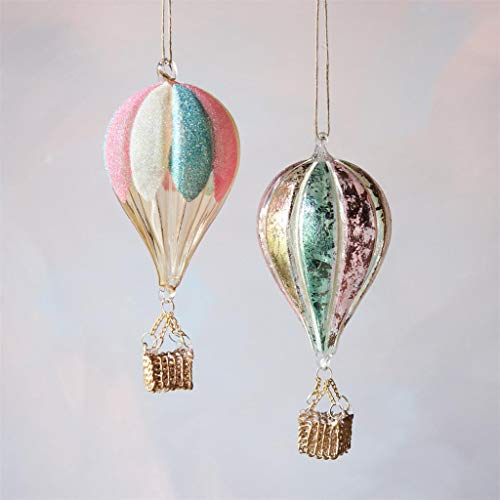 180 Degrees Hot Air Balloon Glass Pastel Color Candy Village Christmas Ornaments Set of 2