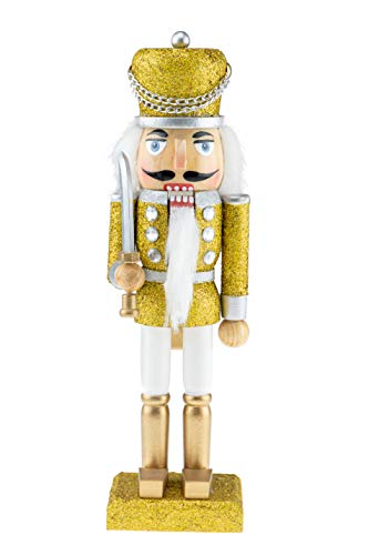 Clever Creations Wooden Glittery Soldier Nutcracker | Gold, Silver, and White Uniform Holding Baton | Festive Traditional Christmas Decor | 10″ Tall Great for Any Holiday Collection