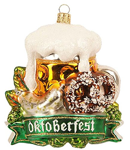 Pinnacle Peak Trading Company Oktoberfest Bavarian Pretzel Beer Sausage Polish Glass Christmas Tree Ornament