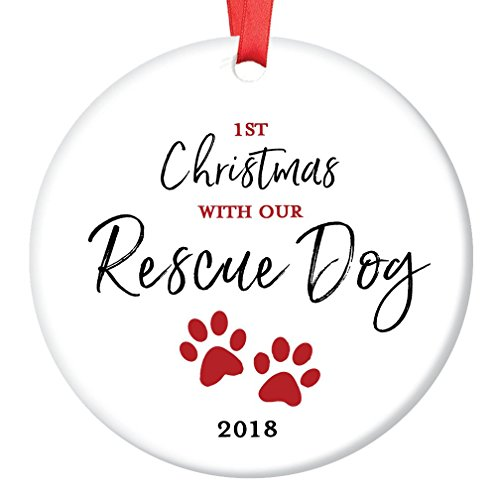 Rescue Dog Ornament Pet Adoption 2018 Holiday Tree First Year 1st Christmas New Forever Home Doggie Puppy Adopted Ceramic Collectible Present 3″ Flat Porcelain Keepsake with Red Ribbon & Free Gift Box