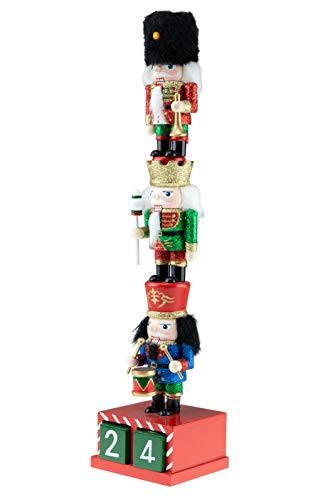 Clever Creations Wooden Stacked Chubby Nuctrackers with Countdown Calendar | Three Traditional Unique Mini Nutcrackers Stacked | Festive Christmas Decor | 14″ Tall Great for Any Holiday Collection