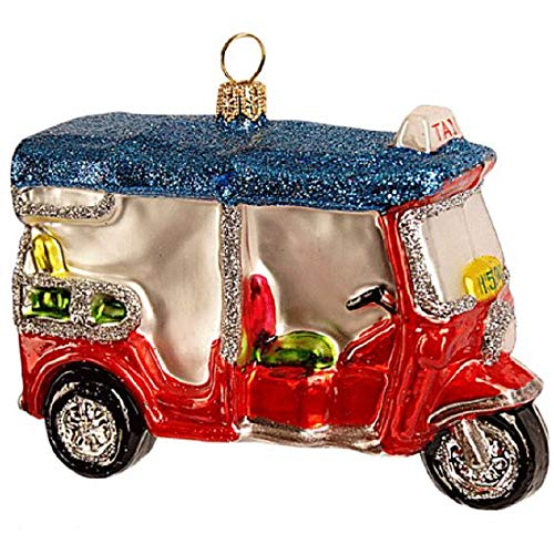 Pinnacle Peak Trading Company Tuk-tuk Auto Rickshaw Polish Glass Christmas Ornament Three-Wheeler Transport