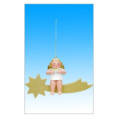 "Alexander Taron Importer 31701 – Christian Ulbricht Large Ornament Angel choirist on Comet – 7.5″"" H x 11.5″"" W x 4.5″"" D"