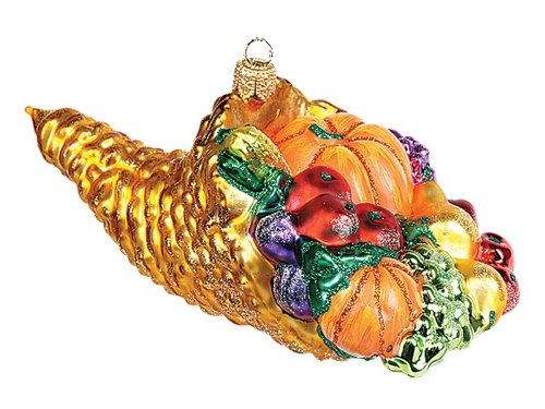 Pinnacle Peak Trading Company Thanksgiving Cornucopia Polish Glass Christmas Ornament Tree Decoration