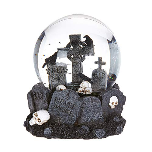 RAZ Imports 6″ Scary Halloween Horror Graveyard Snow Globe with Tombstones, Ravens, Skulls