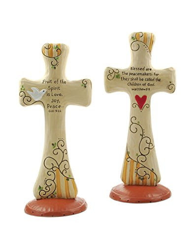 Set of 2 Crosses with Doves and Hearts