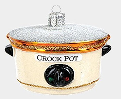 Pinnacle Peak Trading Company Crock Pot Kitchen Appliance Polish Mouth Blown Glass Christmas Ornament