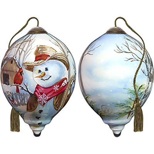 Ne'Qwa Art Hand Painted Blown Glass Western Winter Snowman Ornament, Multicolor