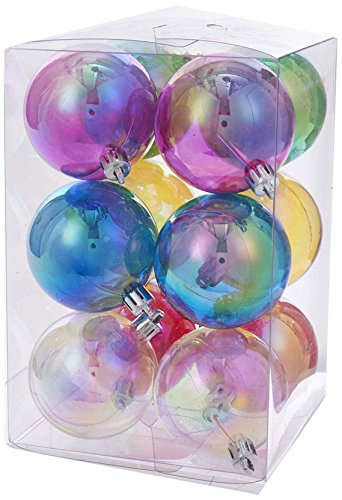 Kurt S. Adler 60MM Clear Iridescent Plastic Ball 12-Piece Ornament Set