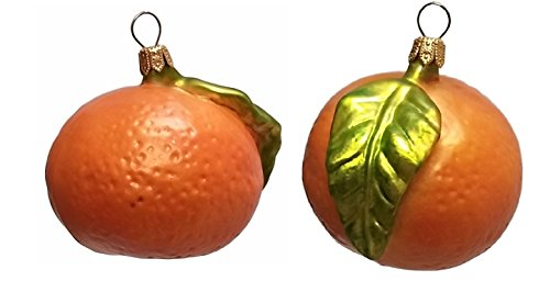 Pinnacle Peak Trading Company Mandarin Orange Citrus Fruit Polish Glass Christmas Ornament Set of 2 Decoration
