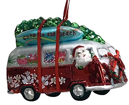One Hundred 80 Degrees Blown Glass Beach Van with Surfboards Hanging Ornament TT0853 5 Inches (Red)