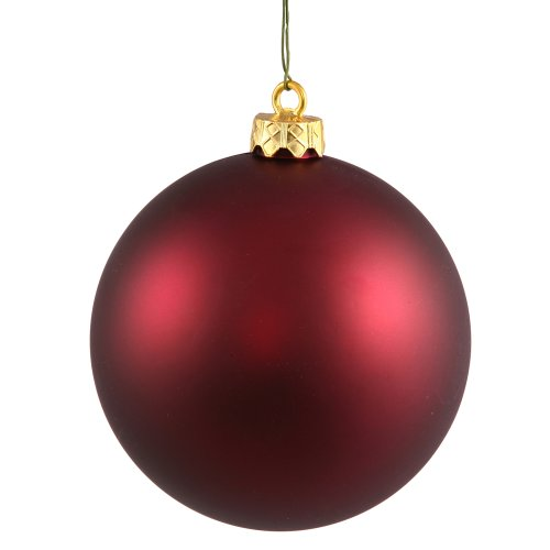 Vickerman Matte Ball Finish Seamless Shatterproof Christmas Ball Ornament, UV Resistant with Drilled Cap, 6 per Bag, 4″, Wine