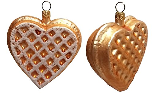 Pinnacle Peak Trading Company Heart Shaped Waffle Polish Glass Christmas Ornament Set of 2 Decorations