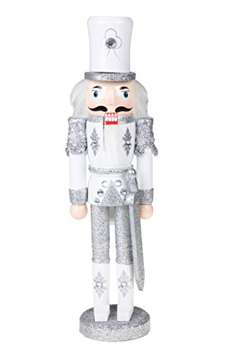 Traditional Wooden Sparkling White and Silver Soldier Nutcracker with Sword by Clever Creations | Festive Christmas Decor | 12″ Tall Perfect for Shelves and Tables