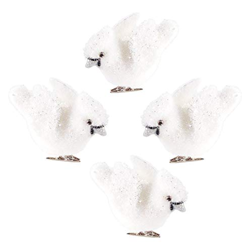 Blossom Bucket Clip-On White Wintry Bird Ornaments – Set of 4