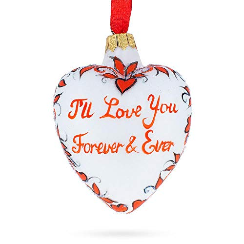 BestPysanky I Love You Forever Glass Heart Christmas Ornament
