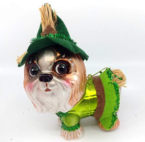 One Hundred 80 Degrees 5.5″ Wizard of Oz Glass Dog Christmas Ornaments – Choose: Dorothy (Lhasa Apso/Maltese), Tin Man (Schnauzer), Scarecrow (Shih Tzu) & Lion (Bulldog) (Scarecrow (Shih Tzu))