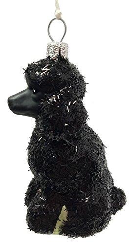 Pinnacle Peak Trading Company Black Glittered Poodle Dog Polish Glass Christmas Ornament Pet Animal Decoration