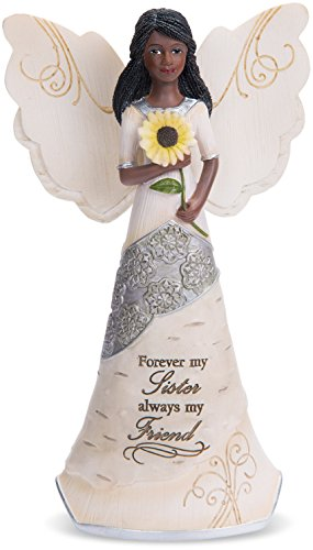 Pavilion Gift Company 82383 Forever My Sister Ebony Angel Figurine, 6-1/2″