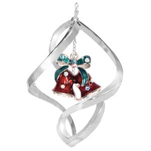 Chrome Christmas Bell Spiral Ornament – Red
