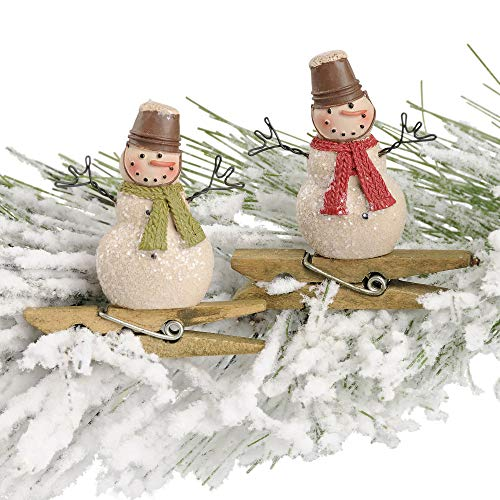 Blossom Bucket Snowman Crate Hats 2 x 2 Inch Resin Stone Christmas Ornament Set of 2
