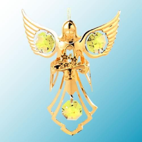 24k Gold Angel with Flowers Ornament – Yellow Swarovski Crystal