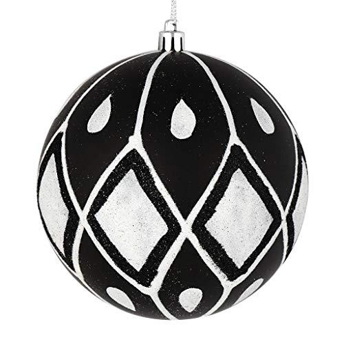 Vickerman 528624-4″ Black Matte Glitter Diamond Ball Christmas Tree Ornament (4 pack) (N188017D)