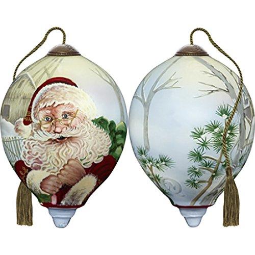 Ne'Qwa Art Hand Painted Blown Glass Winter Santa Ornament, Multicolor