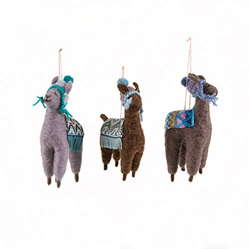 One Hundred 80 Degrees Set of 3 Assorted Felt 7 Inch Llama Hanging Ornaments