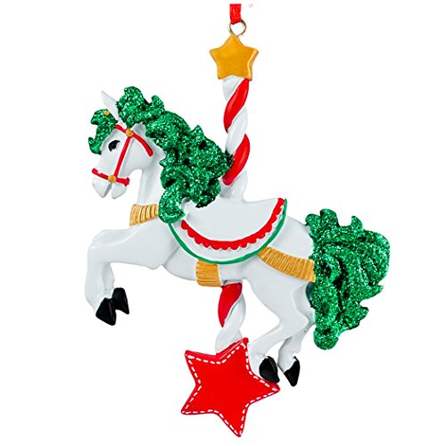 Personalized Carousel Horse Christmas Ornament for Tree 2018 – Fairy Fun Toy with Candy Cane Pole Green Glitter Hair Star – Fantastic Music Play Ride Girl Boy Gift Pixie Magic – Free Customization