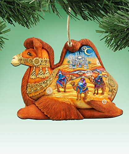 G. Debrekht Nativity Christmas Ornaments – Nativity Decorative Holiday Ornament (Camel Three Kings Nativity)
