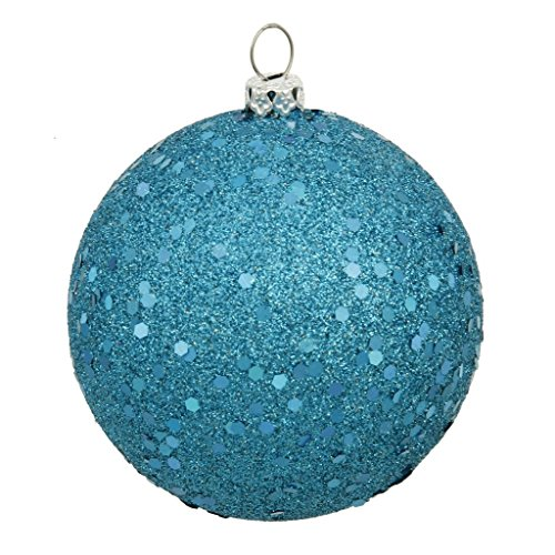 Vickerman 350744-6 Turquoise Sequin Ball Christmas Tree Ornament (4 pack) (N591512DQ)