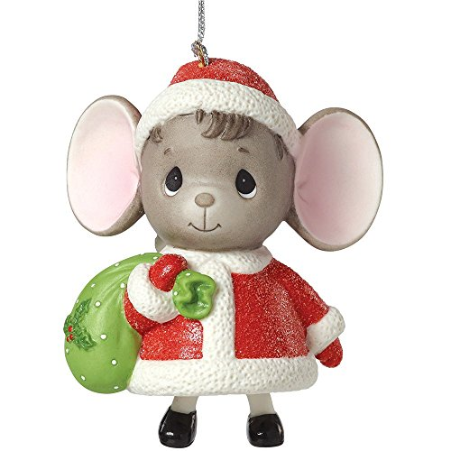 """Precious Moments, The Holidays are Mice with You"""", Mouse with Gift Bag, Porcelain Bell Ornament, 161048"""