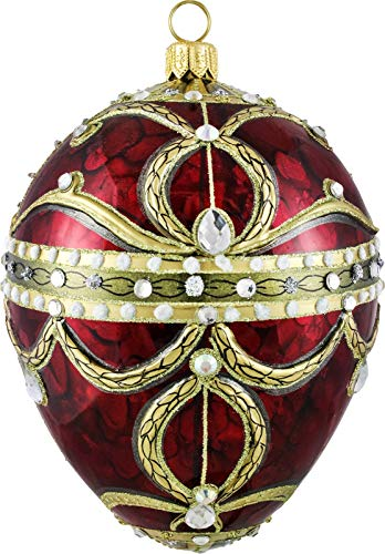 Joy To The World Glitterazzi Red Imperial Jeweled Egg Polish Glass Christmas Tree Ornament New