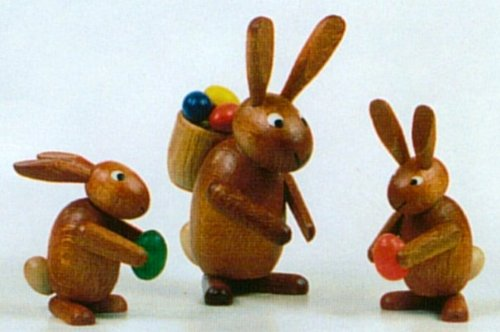 Pinnacle Peak Trading Company Erzgebirge Miniature Wood Easter Bunny Rabbit Family Handcrafted in Germany New